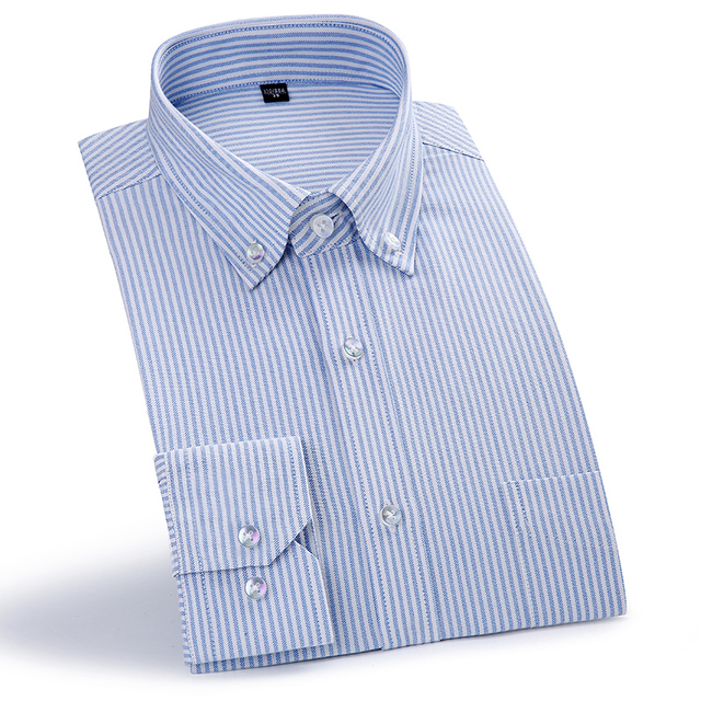 0104cfe4c757f8 Men's Blue/white Pinstripe Oxford Dress Shirt with Chest Pocket Comfortable  Cotton Smart Casual Regular-Fit Button-down Shirt
