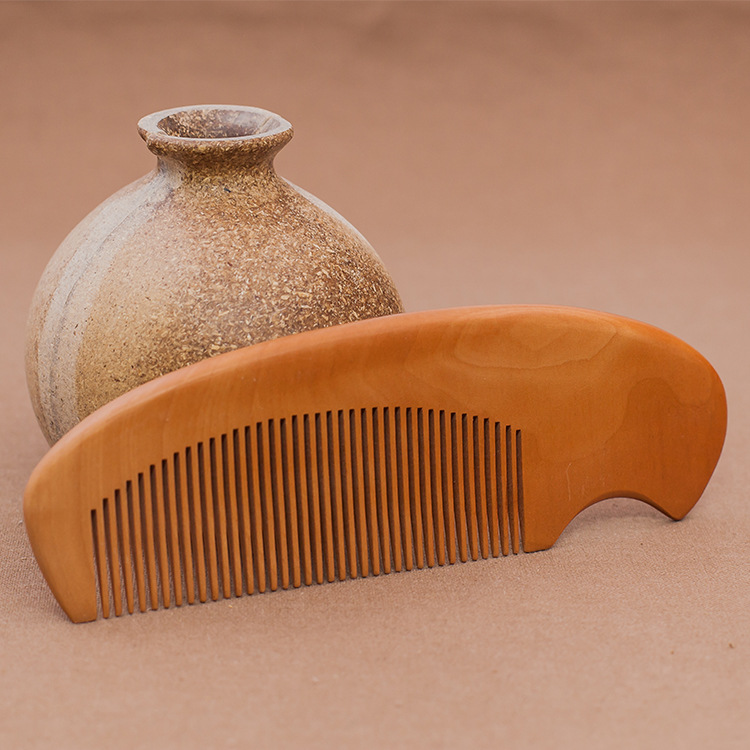 NAPSE C2 Health peach wood comb lettering natural massage comb boutique work trade wooden comb