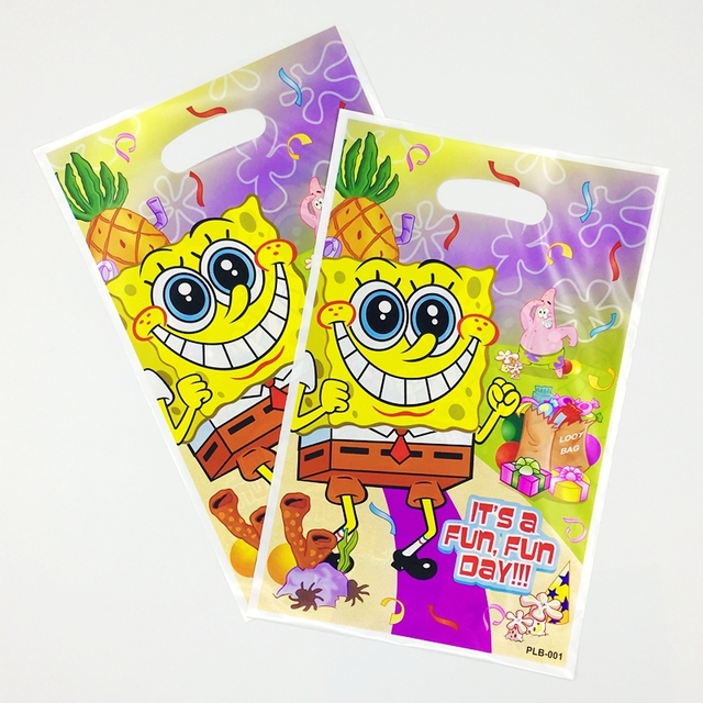 8205554f7ad5c 10pcs SpongeBob Theme Bag with Patrick Star Gift Girl Kids Favor Birthday  Party Supplies Child Loot