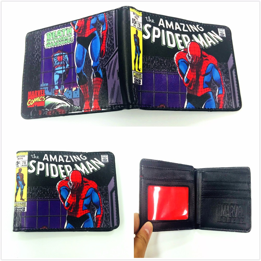 Hot The Amazing Spiderman Wallets Cartoon Anime Hero Purse Dollar Price Short PU Leather Wallet XY0034 new anime style spiderman men wallet pu leather card holder purse dollar price boys girls short wallets with zipper coin pocket