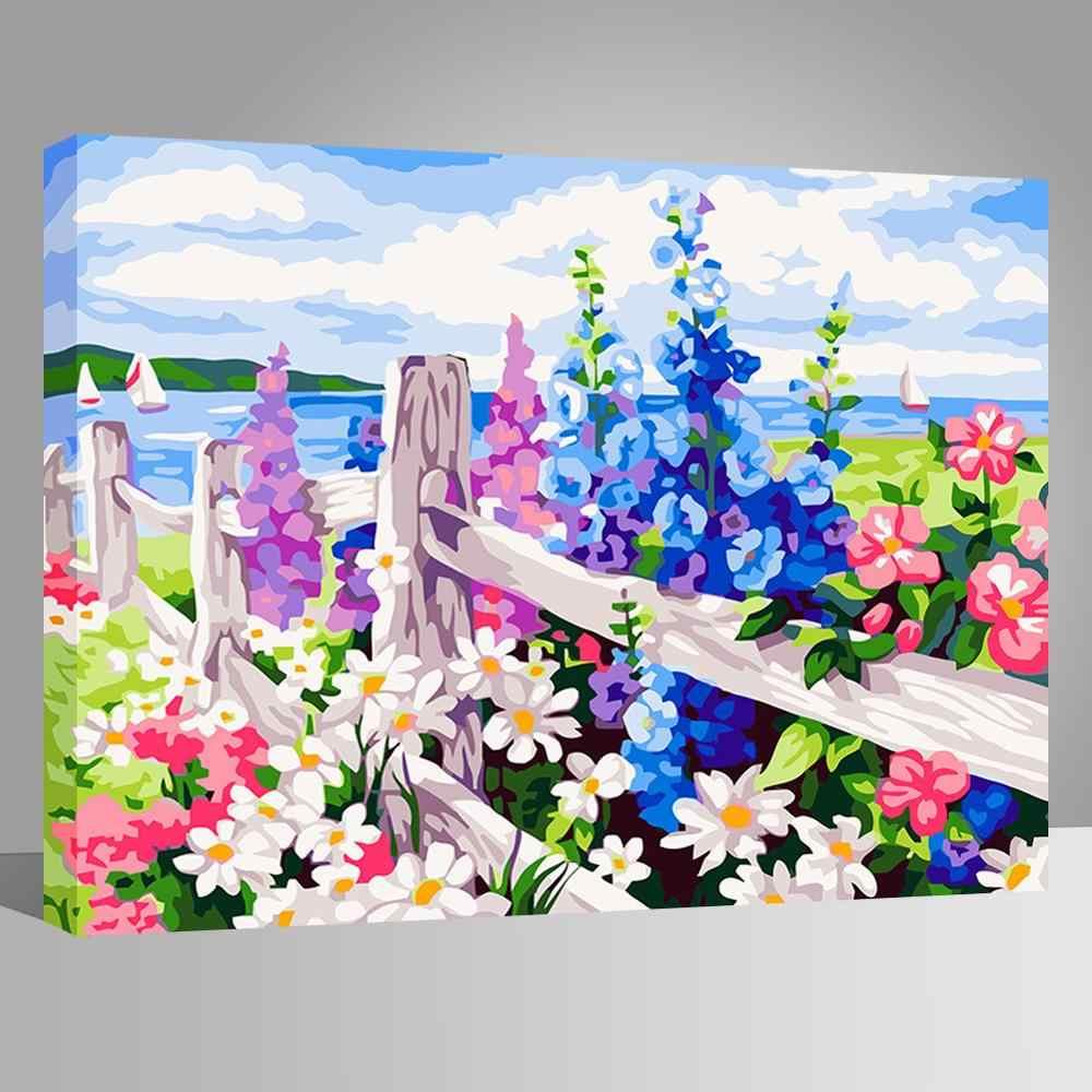 WEEN flores Coloridas-Pintura by numbers, Modular da lona fotos para sala de estar, pintura DIY por números for kids & adultos 40x50cm