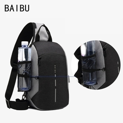 BAIBU NEW Multifunction Chest Pack Men Casual Shoulder Crossbody Bag USB Charging Chest Bag Water Repellent ipad Messenger Bag