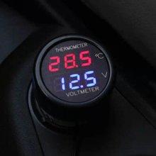 2 В 1 DC 12 В Цифровой Автомобиль Вольтметр Термометр Измеритель Температуры Батареи Монитор Led Двойной Дисплей LH8s