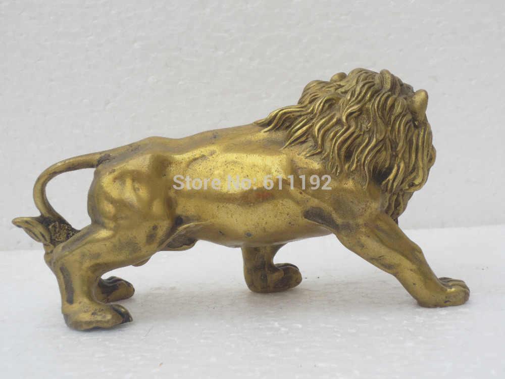 SCY Metallo artigianato Cinese home decor Feng Shui brass lion statua/scultura