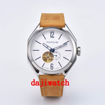 NEW 43mm Parnis Luminous Hollow Dial Miyota Automatic Mechanical Mens Watch