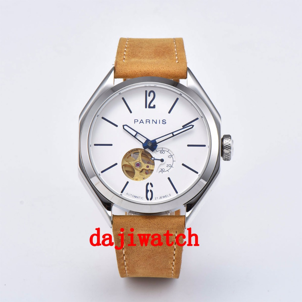 NUOVO 43 millimetri Parnis Luminoso Hollow Dial Miyota Automatic Mechanical Mens Watch