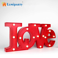 LumiParty 3D LOVE LED Night Light Letters Wall Lights for Holiday Christmas Decoration Romantic Home Decorative Desk Lamps