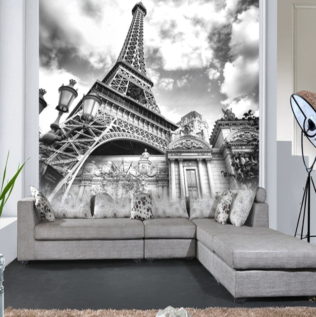 Custom 8D Papel Mural Wallpaper Black And White Paris Eiffel Tower Wall Paper 3d Photo