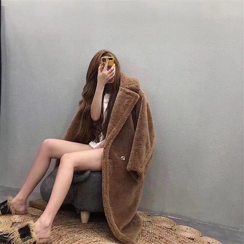 Floue Peluche Manteau Chaud Royal blanc Femme Mode De D'hiver Brun camel Veste bleu Vêtements rouge Vestes Ours Fourrure Parka Épais 2018 Fuchsia Molletonnées Femmes En Long O6Xdq6T