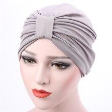 Ethnic Indian style wrap Hijab hat solid Stretchy hail loss coverings Islamic Headwear turban Muslim Prayer Hats