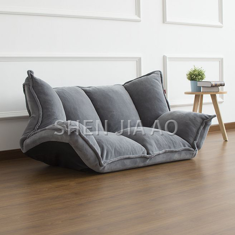 Home Computer Cute Leisure Balcony Lounge Lazy Folding Sleeper Chair 3 Position with Bench Gray Single Small Sofa Dormitory Bedroom Convertible Soft Pillow