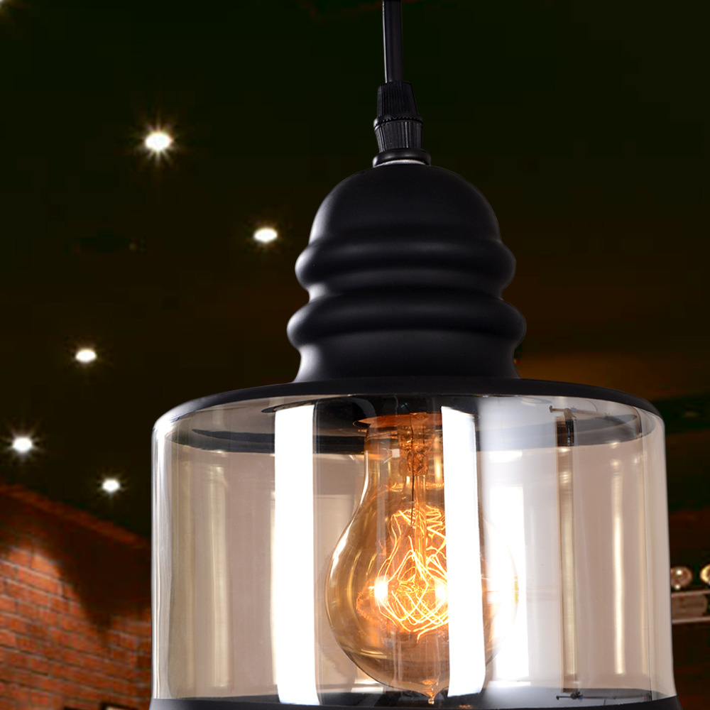 retro cylindrical vintage pendant lampglass shade mason jar pendant lightblack paintuse e27 light bulb 110220v
