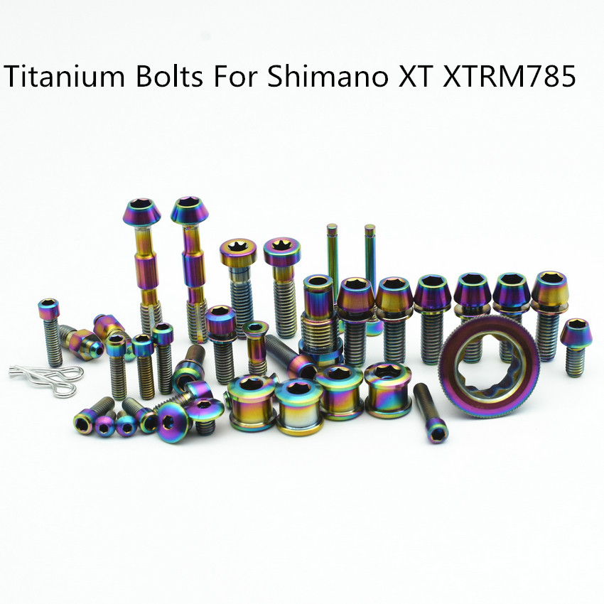 Full Set Ti Bolt for SHIMANO XT/XTR M785 M8000 Upgraded Titanium Bolts Gold and Multiple Color for Road and MTB BikeFull Set Ti Bolt for SHIMANO XT/XTR M785 M8000 Upgraded Titanium Bolts Gold and Multiple Color for Road and MTB Bike