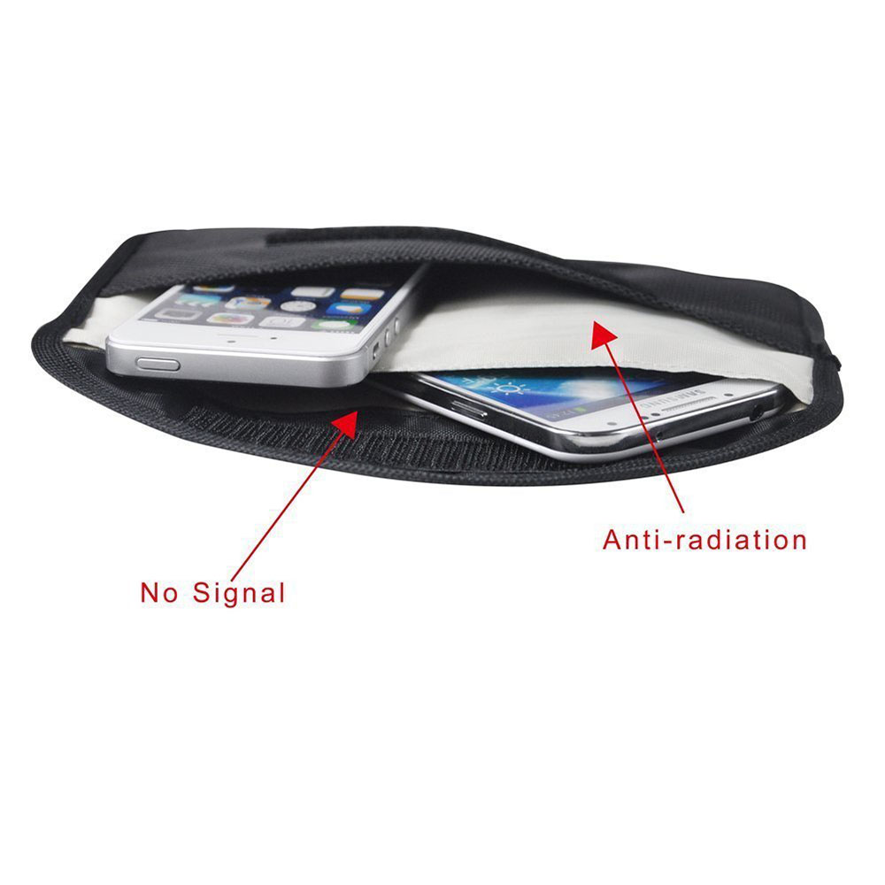 <font><b>GSM</b></font> <font><b>3G</b></font> <font><b>4G</b></font> <font><b>LTE</b></font> GPS RF RFID Signal Blocking Bag Anti-Radiation Signal Shielding Pouch Wallet Case for Cell Phone 6 Inch image