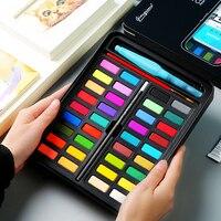 מוצק צבע בצבעי מים סט 36 צבע בצבעי מים תלמיד מצויר ביד נייד מברשת ציור אספקת אמנות-בצבע מים מתוך ציוד למשרד ולבית הספר באתר