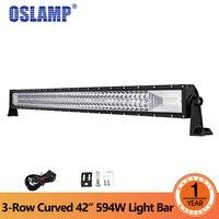 Oslamp 42 дюймов 594 Вт 3 ряд изогнутой светодиодный свет бар Offroad Combo Луч светодиодный свет работы 12 В 24 В Грузовик внедорожник ATV 4WD 4x4 светодиодный