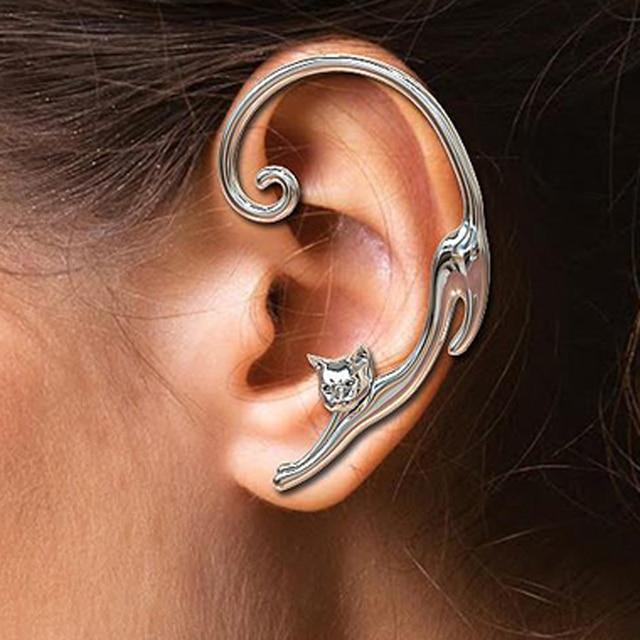 Single Piece Punk Style Gold Silver Plated Cat Post Earring With Ear Cuff Rock Animal Black Stud Earring Women 2019 Ear Wrap 1