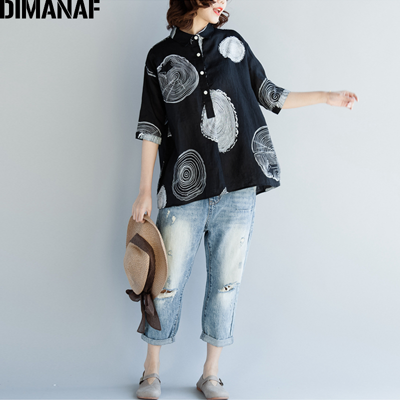 DIMANAF Women Blouse Shirts Plus Size Female Clothing Print Paisley Cotton Thin Basic Tops Loose Half Sleeve Blouse Summer 2018 2