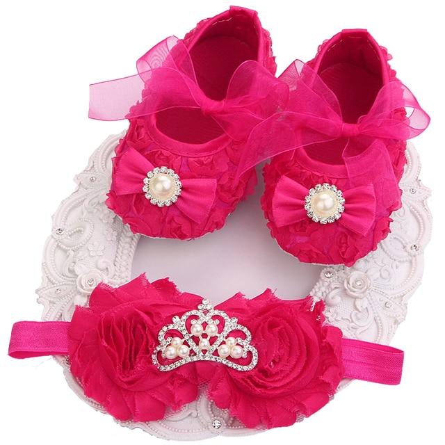 0c830d10583 Christening Baptism Newborn Baby Girl Shoes Headband Set