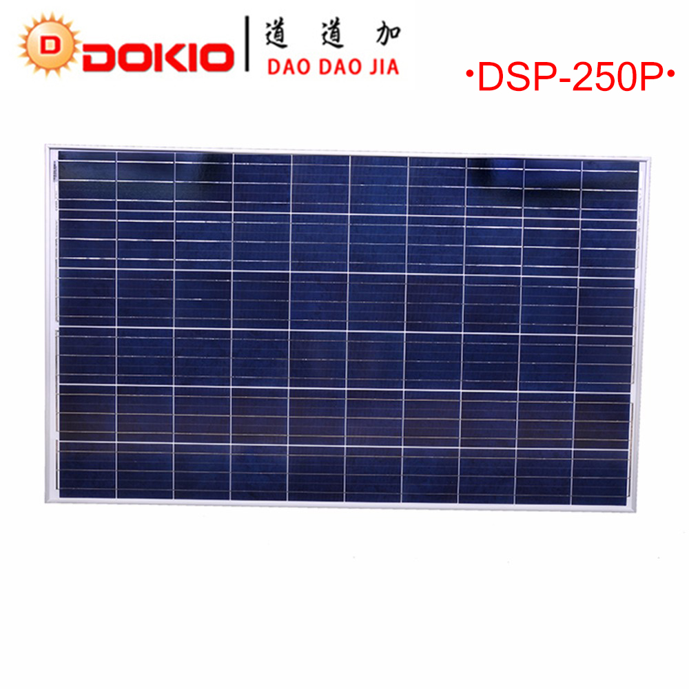 Dokio Brand Solar Panels China 250W Polycrystalline Silicon Solar Battery China 30V 1640x980x35MM Top quality Paneles Solares