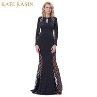 Kate Kasin Long Black Prom Dresses 2018 Sexy Vedere Attraverso Polka Dots Partito Convenzionale Pageant Vestito Da Sera Dell'abito Della Sirena Da Promenade vestito