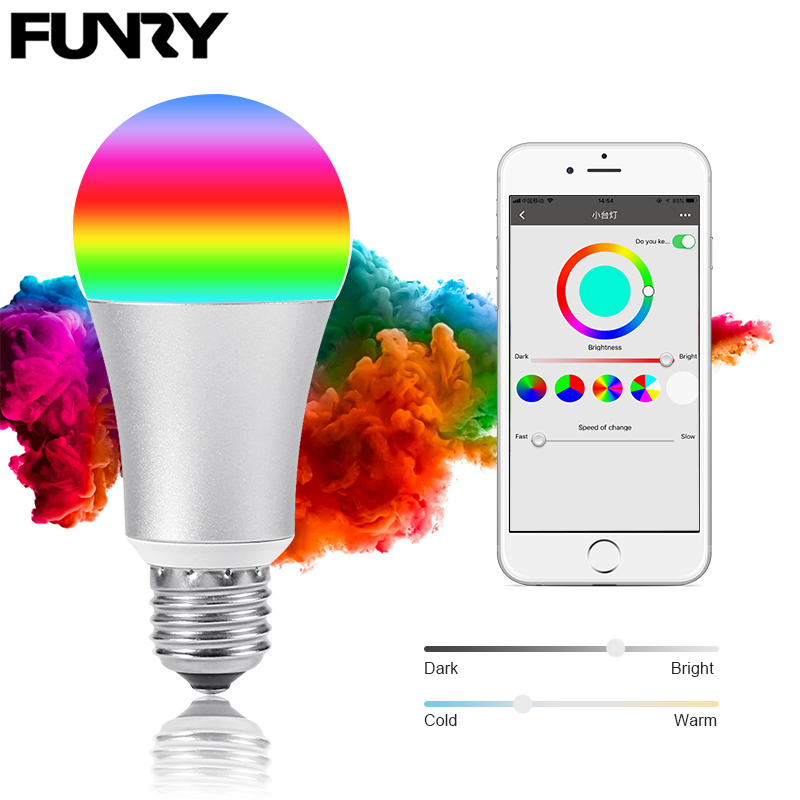 FUNRY WIFI TB-Y Smart RGB Color Changing Light Bulb Smart wifi led Bulbs Dimmable E27 Lamp Base WIFI Smart Bulbs Work With Alexa