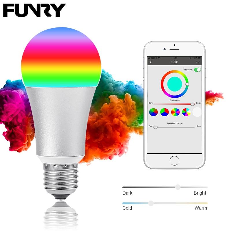 FUNRY WIFI TB-Y Smart RGB Color Changing Light Bulb Smart wifi led Bulbs Dimmable E27 Lamp Base WIFI Smart Bulbs Work With Alexa