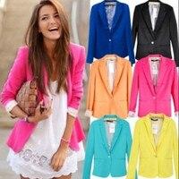 Hot Blazer Women New 2015 Candy Color Jackets Suit Slim Yards Ladies Blazers Work Wear Jacket