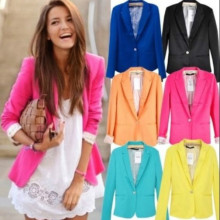 Hot Blazer Women Candy Color Jackets Suit Slim yards Ladies Blazers Work Wear Jacket