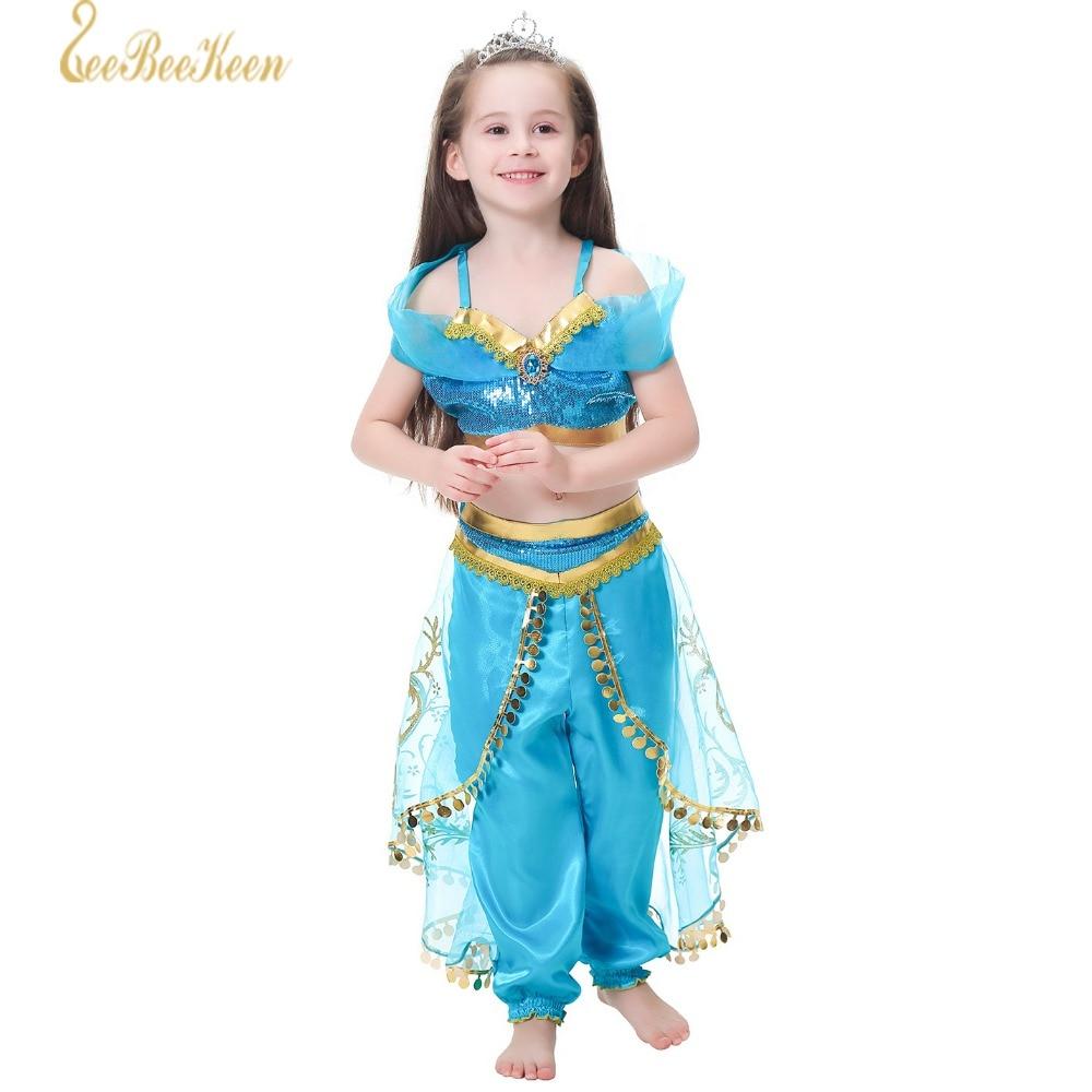 2019 New Aladdin's Jasmine Costume Cosplay Children's Set Children's Dresses Girls Jasmine Princess Dress Stage performance show