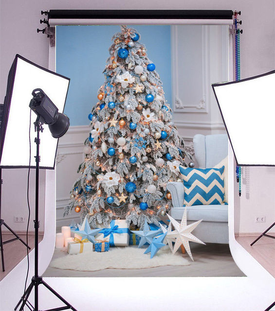 christmas decorations tree gift star rome blue white backgrounds vinyl cloth high quality computer print party
