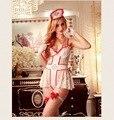 Tentación mujeres Sexy bordado de encaje total camisones eróticos dama uniforme de enfermera Fantasia adultos juego de la oficina Cosplay ropa interior de deslizamiento
