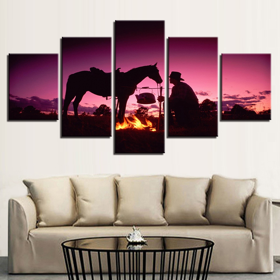 Framed Canvas Painting Living Room Wall Art 5 Pieces Sunset Dusk Knight Whit Horse Pictures HD Prints Flame Poster Home Decor