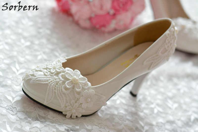 9e22b2846 ... Sorbern/Элегантные белые кружевные свадебные туфли на среднем каблуке с  круглым носком и бусинами, ...