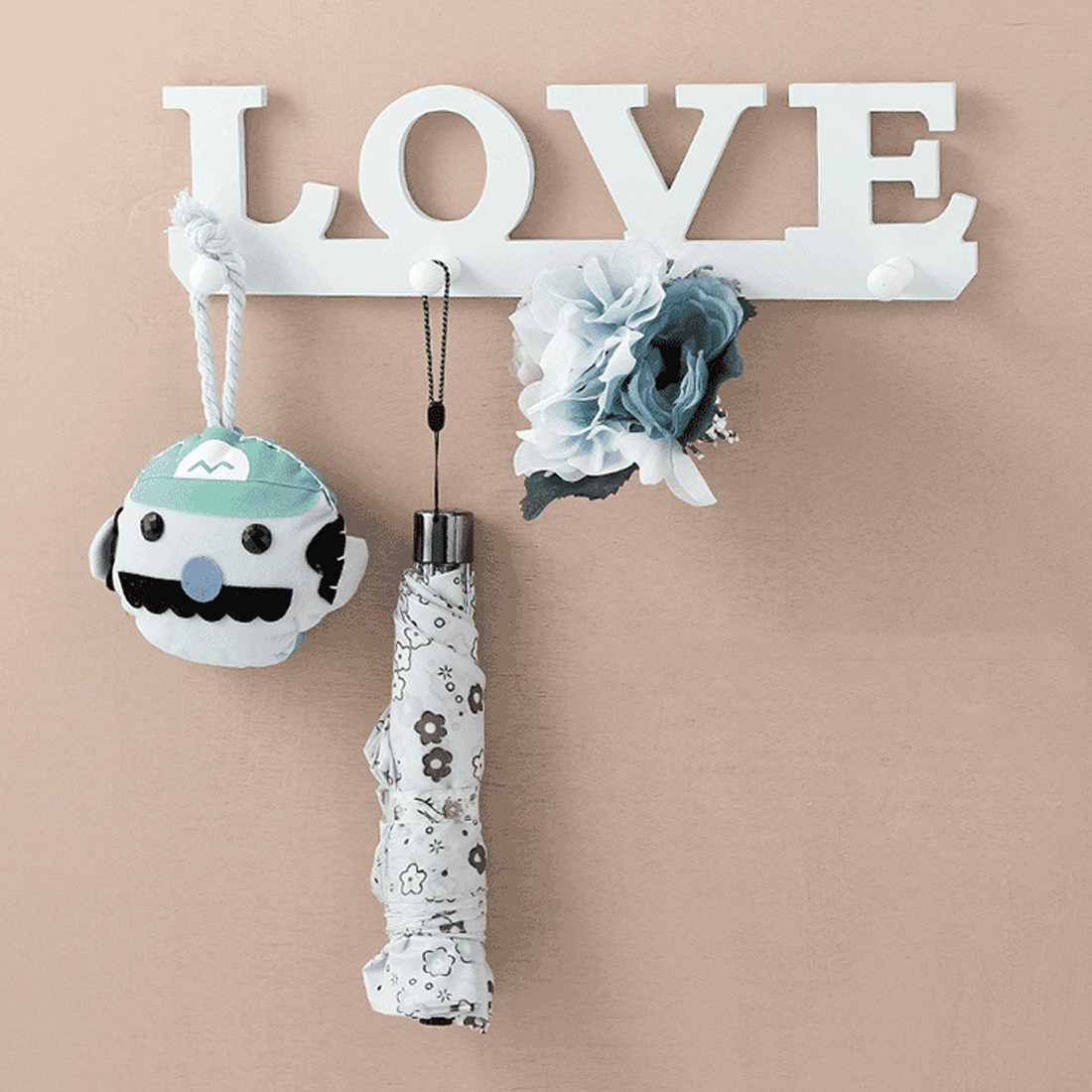 Wooden Love Coat Hat Key Holder 4 Hooks Clothes Bag Robe Mount Screw Wall Rack Door Bathroom Home Decor Hanger