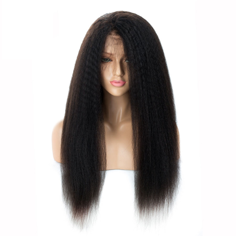 LUFFYHAIR Kinky Straight Lace Front Wigs With Baby Hair Pre Plucked Remy Human Hair New Lace Front Wigs Deep Part For Women