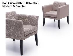 Solid Wood Cloth Cafe Chair Nordic Cafe Study Rear Armrest Sofa Chair Modern Simple