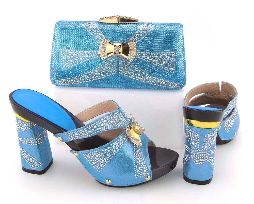 Free shippment by DHL loverly color sky blue high quality hand made 2018 newest italian shoes matching clutches bag BCSB0035 italian made simple