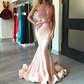 Coral Mermaid Prom Dresses 2017 See-Through Sexy Prom Dress Appliques vestidos de formatura imported party dress galajurken lang