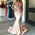 Coral Sirena Vestidos de Baile 2017 Ver A Través de Sexy Vestido de Fiesta Apliques vestido de fiesta vestidos de formatura importados galajurken lang