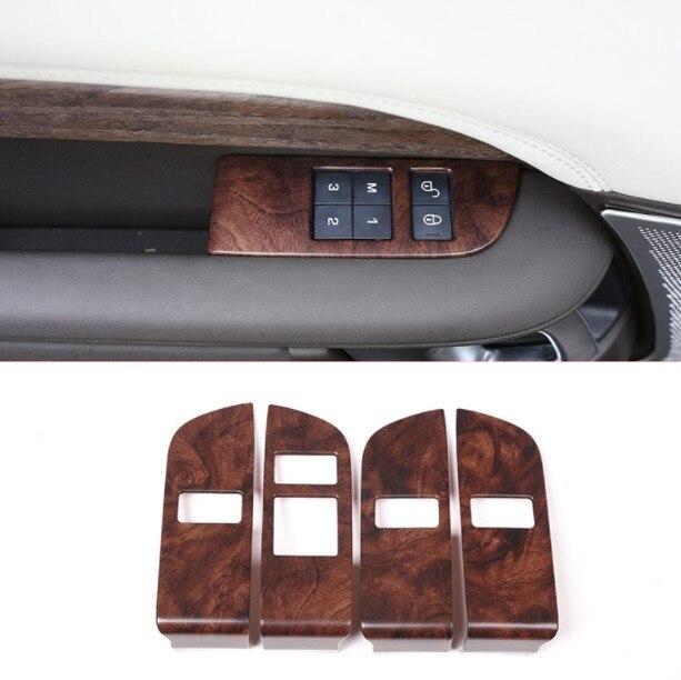 Rose bois Grain enfant sécurité porte serrure interrupteur panneau garniture pour Land Rover Discovery 5 2017 2018 voiture accessoires 4 pièces/ensemble