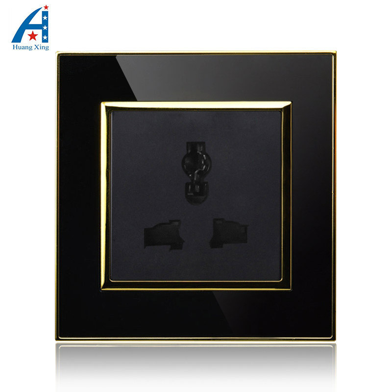 3 Pin Universal hole wall socket, Luxury Wall outlet 16A power electrical outlet, Black Crystal acrylic panel, AC110~250V manufacturer all copper panel internet and telephone jack with 16a 3 pin pop up floor socket electrical outlet