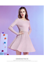 long sleeve pink knitting sweater dress tight waist subcoating Free Shipping