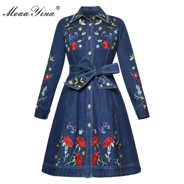 MoaaYina מסלול מעצב אופנה באיכות גבוהה קאובוי מעיל רוח ארוך שרוול רקמת Sashes מקרית בציר קאובוי מעיל