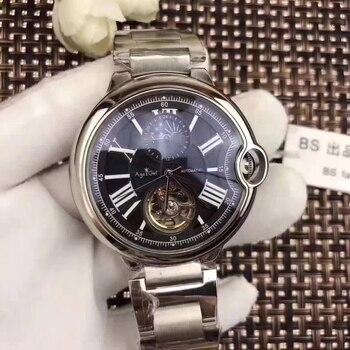 5107a98c7281 Nueva marca de lujo mecánico automático reloj de los hombres negro azul  cuero Rosa oro transparente MoonPhase relojes tourbillon blanco AAA