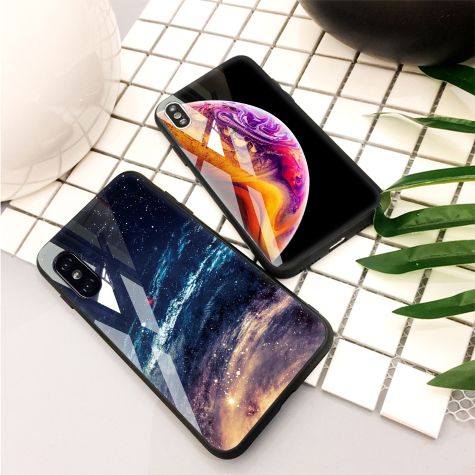 TOMKAS Tempered Glass Silicone Case For iPhone XS Max XR Star Space Cover Phone Case For iPhone X S XS Plus XR 10 Luxury Cases X (24)