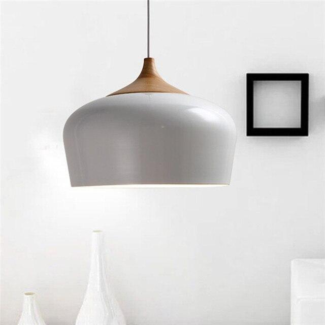 Modern aluminum oak wood pendant lights lustre white for Lustre suspension moderne