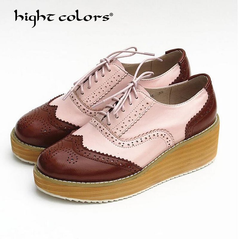 Rond brown Brown Oxford Pour Black F Brown Green forme Cuir Richelieu White White pink Femmes silver Creepers silver Bout Femme Lacets 023 Marque 2018 yellow Appartements green En Chaussures Yellow Plate À 47xwqqZ