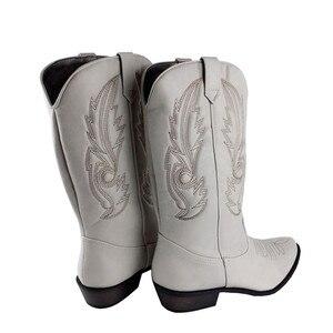 Image 5 - Top.Damet batı botları kadın sonbahar kış üzerinde kayma düz renk çizmeler sivri burun kovboy Cowgirl motosiklet botları kadın