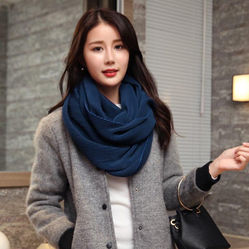 Теплые женские шарф для Зима Осень сезонов жатый Стиль шерсть Для женщин шарфы Sciarpa вискоза пашмины кольцо шарф платки Mujer